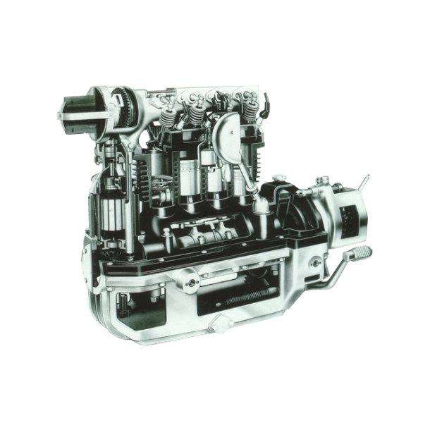 Postkort - Gennemskåret motor